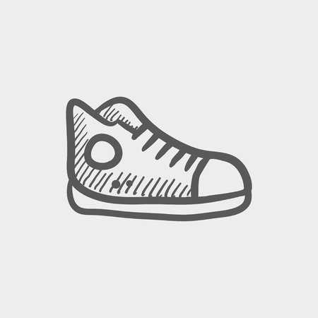 Hi-cut rubber shoes sketch icon for web and mobile. Hand drawn vector dark grey icon on light grey background. Иллюстрация