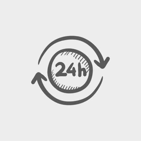 24 hr: Convenience service 24 hrs sketch icon for web and mobile. Hand drawn vector dark grey icon on light grey background. Illustration