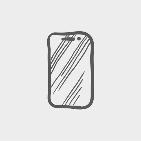 cellphone in hand: Mobile phone sketch icon for web and mobile. Hand drawn vector dark grey icon on light grey background.