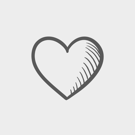 heart icon: Heart sketch icon for web and mobile. Hand drawn vector dark grey icon on light grey background.