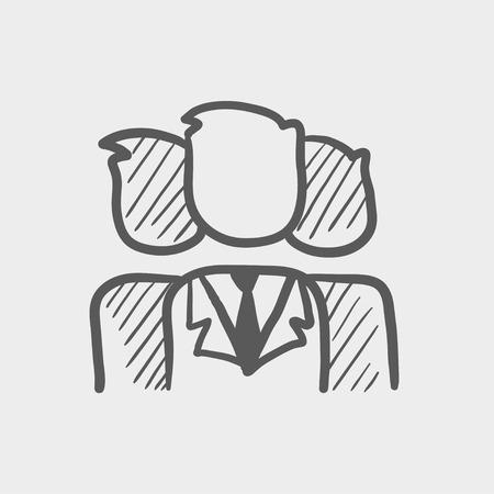 Üzletemberek csoportja vázlat ikon webes és mobil. Kézzel rajzolt vektoros sötétszürke ikonra világosszürke háttérrel.
