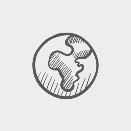 Globe sketch icon for web and mobile. Hand drawn vector dark grey icon on light grey background.