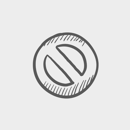illegal zone: Not allowed sign sketch icon for web and mobile. Hand drawn vector dark grey icon on light grey background.