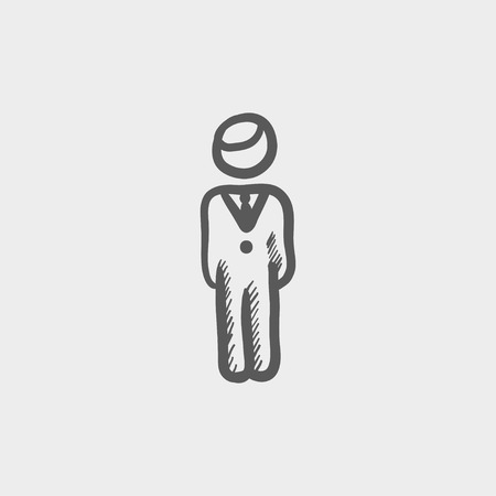 Man standing sketch icon for web and mobile. Hand drawn vector dark grey icon on light grey background.