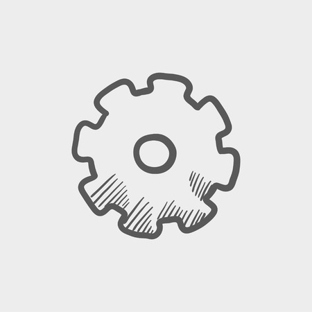 Gear sketch icon for web and mobile. Hand drawn vector dark grey icon on light grey background. 向量圖像