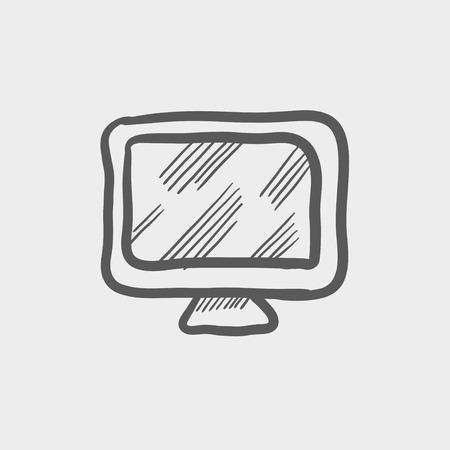 led: Monitor sketch icon for web and mobile. Hand drawn vector dark grey icon on light grey background.