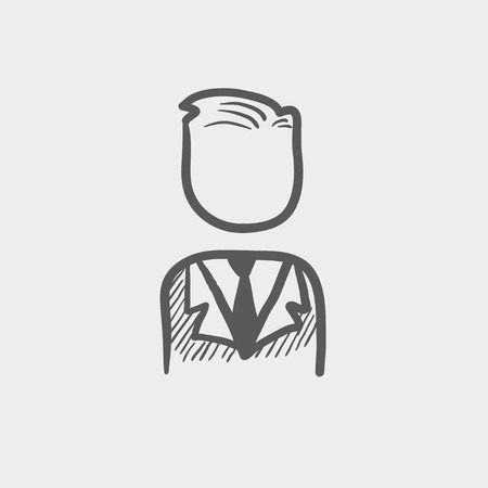 Businessman sketch icon for web and mobile. Hand drawn vector dark grey icon on light grey background. Ilustracja