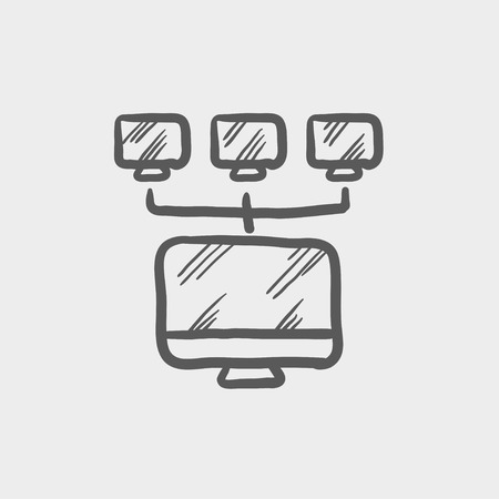 controlling: Screen with cameras sketch icon for web and mobile. Hand drawn vector dark grey icon on light grey background.