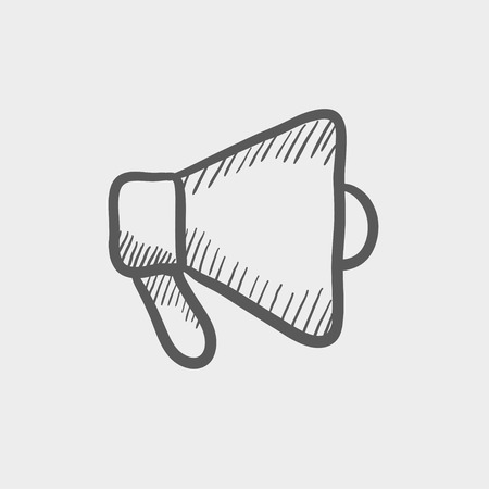 Megaphone sketch icon for web and mobile. Hand drawn vector dark grey icon on light grey background.