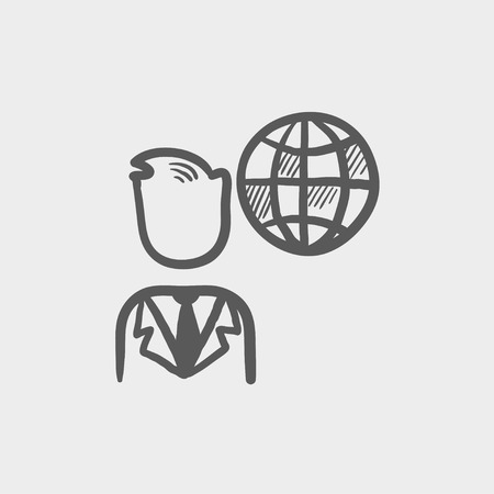 spokesperson: Businessman with global sketch icon for web and mobile. Hand drawn vector dark grey icon on light grey background. Illustration