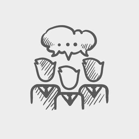 Le persone con la chat bolla icona dello schizzo per il web e mobile. Mano vettore tracciato grigio scuro icona su sfondo grigio chiaro.