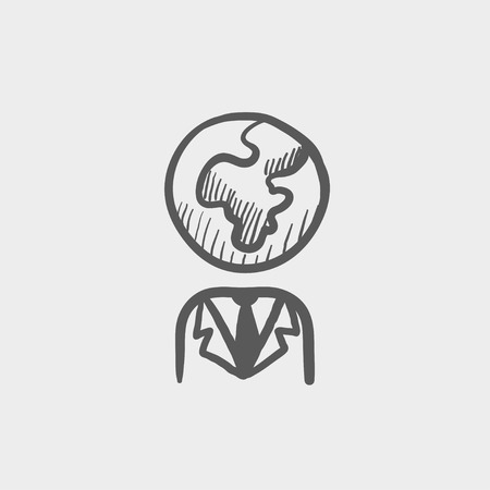 flat earth: Human with globe head sketch icon for web and mobile. Hand drawn vector dark grey icon on light grey background.