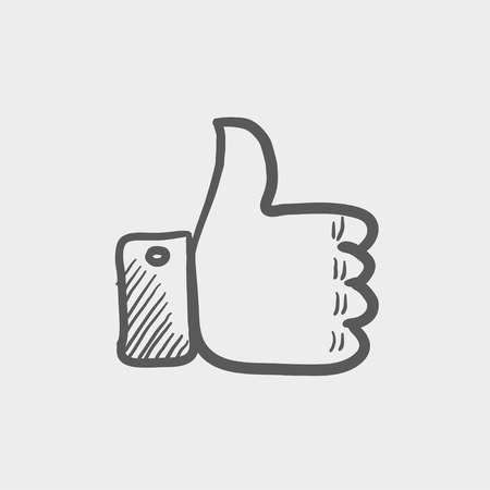 draw: Thumbs up sketch icon for web and mobile. Hand drawn vector dark grey icon on light grey background.