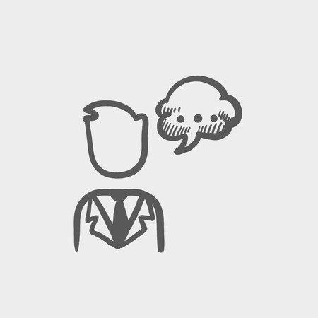 conversing: Man with speech bubble sketch icon for web and mobile. Hand drawn vector dark grey icon on light grey background. Illustration