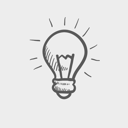scriibble: Light bulb sketch icon for web and mobile. Hand drawn vector dark grey icon on light grey background.