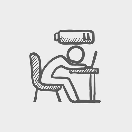 potential: Bsinessman in low power sketch icon for web and mobile. Hand drawn vector dark grey icon on light grey background.