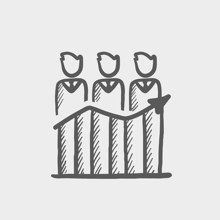 Businessmen standing on profit graph sketch icon for web and mobile. Hand drawn vector dark grey icon on light grey background.