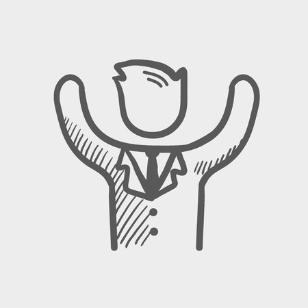 tough man: Winner sketch icon for web and mobile. Hand drawn vector dark grey icon on light grey background. Illustration