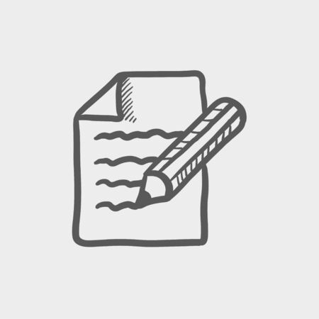 taking notes: Taking note sketch icon for web and mobile. Hand drawn vector dark grey icon on light grey background. Illustration