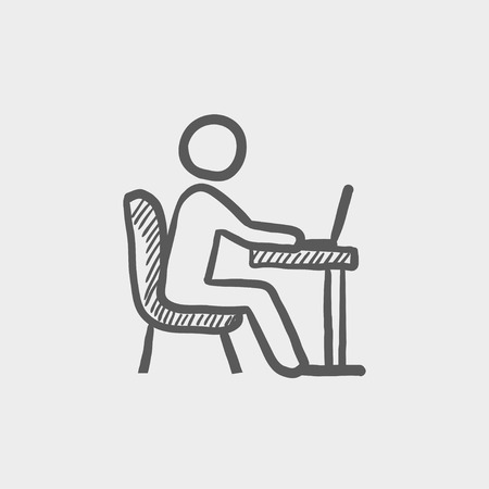 connectivity: Young man and laptop sketch icon for web and mobile. Hand drawn vector dark grey icon on light grey background.