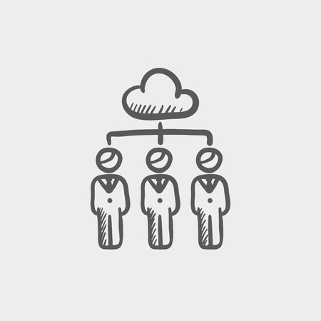 manager: Three businessmen under the cloud sketch icon for web and mobile. Hand drawn vector dark grey icon on light grey background.