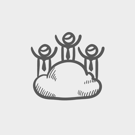 three men: Three men on a cloud sketch icon for web and mobile. Hand drawn vector dark grey icon on light grey background.