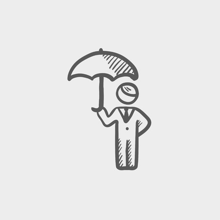 looking away: Man with umbrella sketch icon for web and mobile. Hand drawn vector dark grey icon on light grey background.