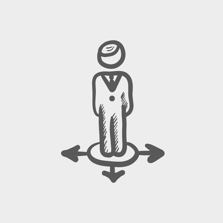 ways: Man in three ways sketch icon for web and mobile. Hand drawn vector dark grey icon on light grey background.
