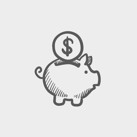 savings account: Piggy bank and dollar coin sketch icon for web and mobile. Hand drawn vector dark grey icon on light grey background. Illustration