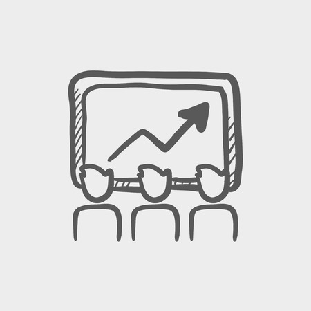 businees: Businees growth sketch icon for web and mobile. Hand drawn vector dark grey icon on light grey background.