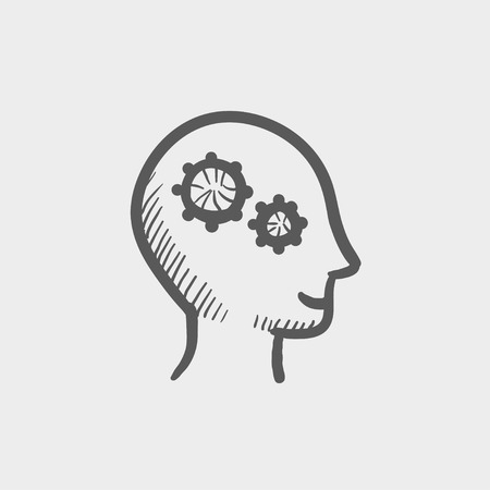 Human head with gear sketch icon for web and mobile. Hand drawn vector dark grey icon on light grey background.
