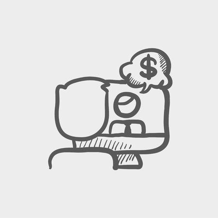 business discussion: Icono de boceto Discusi�n del asunto para web y m�vil. Mano vector dibujado icono gris oscuro sobre fondo gris claro. Vectores