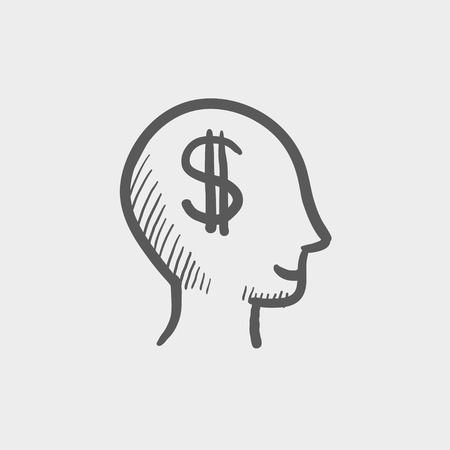 Head with dollar symbol sketch icon for web and mobile. Hand drawn vector dark grey icon on light grey background. Illustration