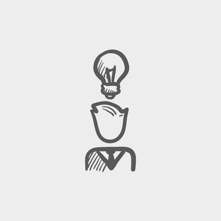 idea sketch: Businessman with idea sketch icon for web and mobile. Hand drawn vector dark grey icon on light grey background.
