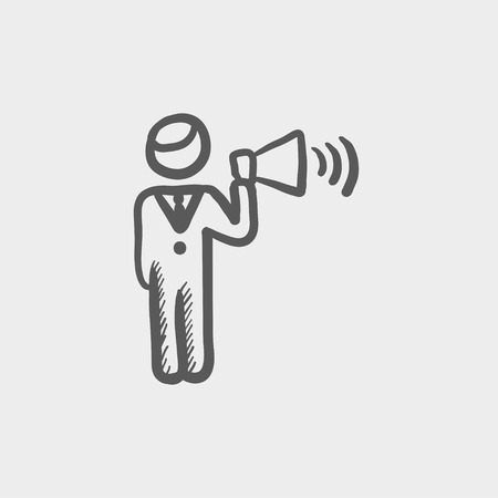 dictate: Man with megaphone sketch icon for web and mobile. Hand drawn vector dark grey icon on light grey background. Illustration