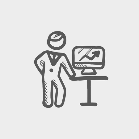 person shined: Business presentation sketch icon for web and mobile. Hand drawn vector dark grey icon on light grey background.
