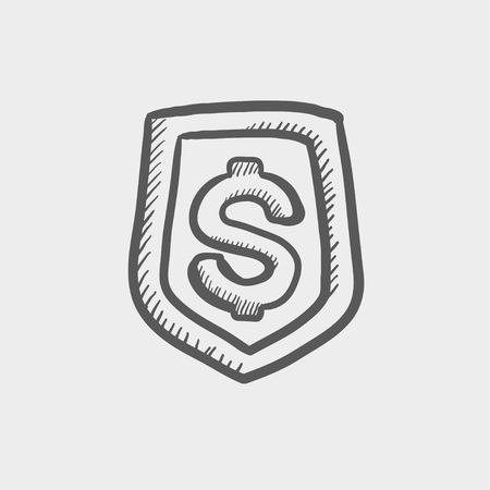 jeans pocket: Jeans pocket with dollar symbol sketch icon for web and mobile. Hand drawn vector dark grey icon on light grey background. Illustration