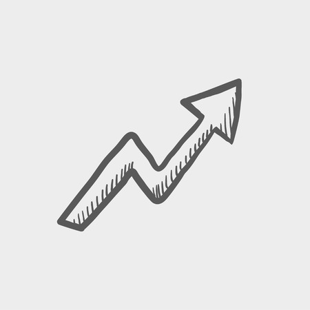 lightning arrow: Lightning arrow upward sketch icon for web and mobile. Hand drawn vector dark grey icon on light grey background. Illustration