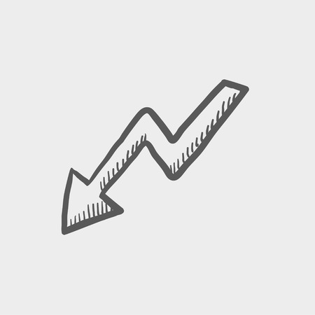 lightning arrow: Lightning arrow downward sketch icon for web and mobile. Hand drawn vector dark grey icon on light grey background.