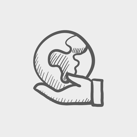 Hand holding earth sketch icon for web and mobile. Hand drawn vector dark grey icon on light grey background. Ilustração