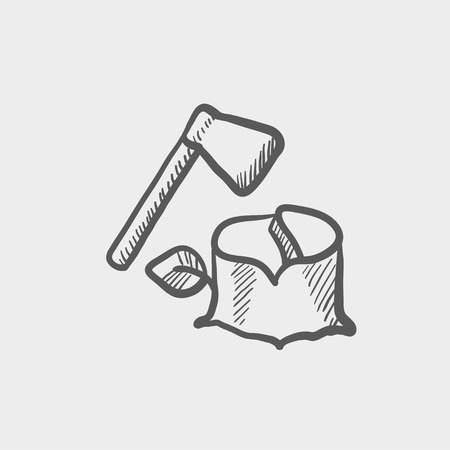 logging: Ax and wood sketch icon for web and mobile. Hand drawn vector dark grey icon on light grey background.