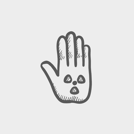 Hand and some object sketch icon for web and mobile. Hand drawn vector dark grey icon on light grey background.
