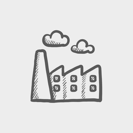 City background sketch icon for web and mobile. Hand drawn vector dark grey icon on light grey background.