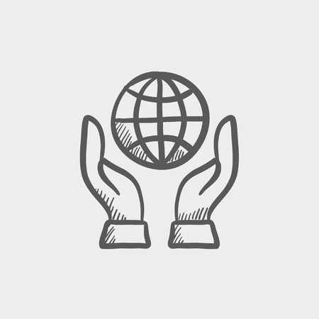 Two hands holding globe sketch icon for web and mobile. Hand drawn vector dark grey icon on light grey background.