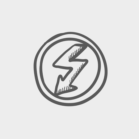 lightning arrow: Bubble with lightning arrow sketch icon for web and mobile. Hand drawn vector dark grey icon on light grey background.