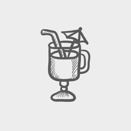ice tea: Cold ice tea with straw sketch icon for web and mobile. Hand drawn vector dark grey icon on light grey background.