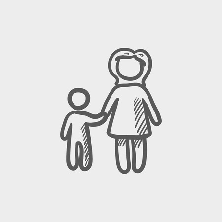 kids holding hands: Mother and child sketch icon for web and mobile. Hand drawn vector dark grey icon on light grey background. Illustration