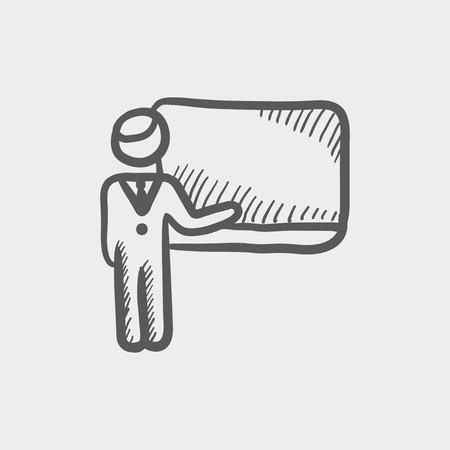 교수 및 칠판 스케치 웹 및 모바일 아이콘. 빛 회색 배경에 손으로 그려진 된 벡터 어두운 회색 아이콘.