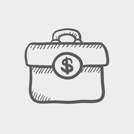 office theft: Money suitcase sketch icon for web and mobile. Hand drawn vector dark grey icon on light grey background.