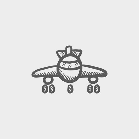 Airplane sketch icon for web and mobile. Hand drawn vector dark grey icon on light grey background.